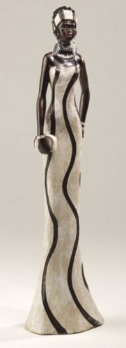 Shafira Figurine from Midnight Velvet.  Her bearing is stately and proud, her posture graceful. This exquisite figurine shows a young African woman in fine clothes that accentuate her height.
