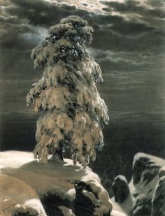Russian Painter:  Ivan Shishkin, (1832-1898)  'In the Wild North' 1891    Charcoal and Whitening on Paper