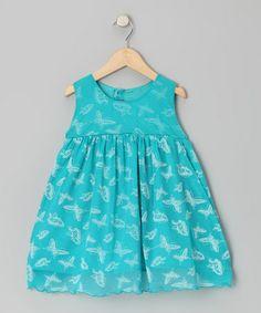 Aqua Butterfly Babydoll Dress