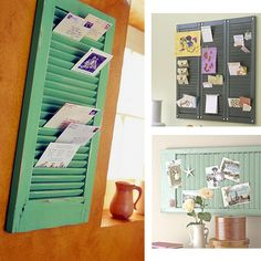Use old window shutters to hold your mail, letters, photos and more. Instead of a traditional mailbox you could hang the shutter outside with a sign asking the mail person to place the mail between the shutters.