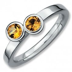 Sterling Silver Stackable Expressions Db Round Citrine Ring