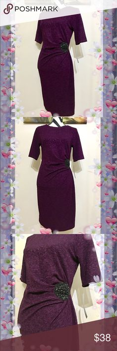 """CHETTA B Jewelry Ruched Waist plum Dress 🎊Buy one get one free from whole closet 🎊  CHETTA B Jewelry Ruched Waist Plum Dress  € Size: 4 € Material: 92% polyester/8% spandex € Shoulder: 15"""" € Bust: 36"""" € Waist: 30"""" € Hips: 39"""" € Sleeve: 11"""" € Length: 36"""" € Condition: New with tag € Retail price: $98 CHETTA B Dresses"""