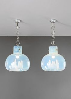 Toni Zuccheri; Chromed Metal and Glass Ceiling Lights for Mazzega, c1970.