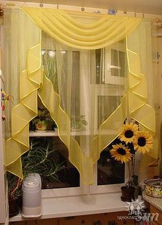 Kitchen Window Curtains Yellow Ideas For 2019 Kitchen Window Valances, Kitchen Curtains, Kitchen Windows, Curtain Styles, Curtain Designs, Curtain Ideas, Valance Ideas, Rideaux Design, Yellow Curtains