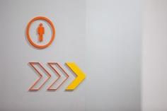 Wayfinding arrows signage, with toilet signage #wayfinding