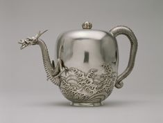 c. 1876 Japanese Meiji period silver with traces of gold accents Dragon Teapot from The Walters Art Museum
