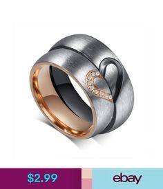 27777a40a CZ Couple Rings Forever Love Heart Brushed Titanium Steel Wedding Promise  Band in Jewelry & Watches, Fashion Jewelry, Rings