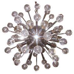 Chrome and Lucite Hanging Sputnik Starburst Lamp