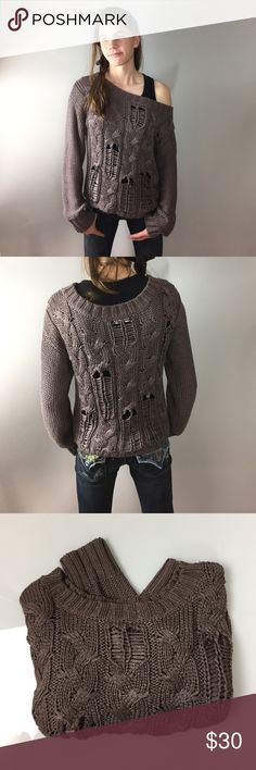 """Trouvè Open Knit Sweater M Amazingly soft brown sweater with a hint of Metallic thread sparkle to it. Size M boxy fit. 17"""" armpit to armpit, 19"""" length. Oversized crew neckline can be worn off shoulder. Layer your favorite cami underneath. 86% acrylic, 14% nylon. A1104 Trouve Sweaters Crew & Scoop Necks"""