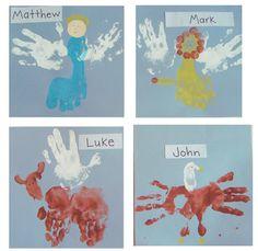 Year Two: Christ, the Son of God - St. John the Evangelist _ Make a Gospel Symbols handprint craft! Matthew, Mark, Luke, and John! Faith Crafts, Bible Crafts For Kids, Vbs Crafts, Kindergarten Activities, Craft Activities, Preschool, St Mark The Evangelist, Matthew Mark Luke John, Gospel Of Mark
