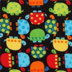 black mini turtles fabric by Timeless Treasures USA
