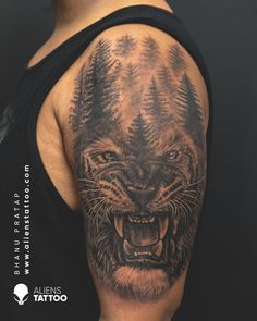 Alien Tattoo, Tiger Tattoo, Animal Tattoos For Men, Tattoos For Guys, First Tattoo, Tattoo You, Charcoal Artists, Hyper Realistic Tattoo, Tattoo Prices