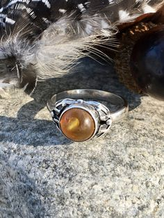 Baltic Amber Sterling Silver Ring SZ 7.75 Solitaire Ring Gypsy Boho Soul Jewelry Brutalist Design, Round Bezel Set Stone
