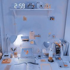 Study Room Decor, Room Ideas Bedroom, Bedroom Decor, Study Rooms, Study Desk, Light Blue Aesthetic, Blue Aesthetic Pastel, Flower Aesthetic, Aesthetic Room Decor