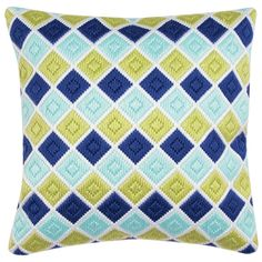 diamond bargello pillow cover - instead of cross stitch i would use quilting fabrics!