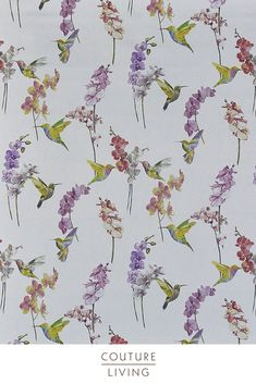 Fragrance by Prestigious Textiles from Couture Living, available in Blossom, this fabric is suitable for Blackout Curtains or Blackout Blinds, Animals Woven fabric in White Bird Curtains, Floral Curtains, Curtains With Blinds, Curtain Fabric, Floral Fabric, Pastel Interior, Purple Interior, Bird Sketch, Prestigious Textiles