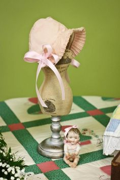 My vintage baby bonnet at my shabby chic shower.