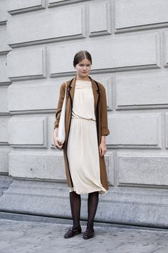 Cream dress, dark tights, rust sweater