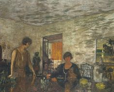 Edouard Vuillard (1868 – 1940), Misia Sert and her Niece Mimi Godebska  (The Black Cups), c. 1923-5, distemper on canvas, 55 1/8 × 68 7/8 in.