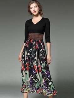 Black Paneled Floral Printed High Waist Maxi Dress
