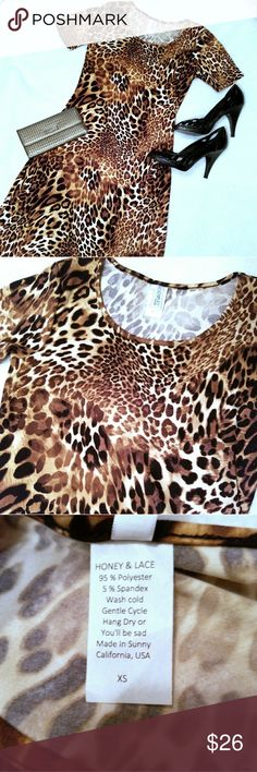 🖤Honey&Lace Auburn Midi Dress NWOT! This gorgeous leopard printed dress is buttery soft and fabulous! Never worn...new without tags! Make this beauty yours 🖤 Honey and Lace Dresses Midi