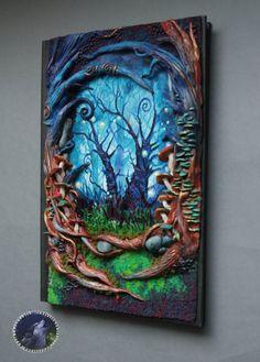 Wonderland Polymer clay notebook/journal by ArtisticVariations84