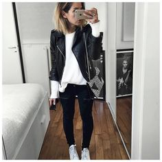 Aujourd'hui c'était donc noir et blanc!  Leather Jacket #balenciaga (old)  Top #bash (old)  Jean #hironaeparis (on @hironaeparis)  Bag #saintlaurentparis (from @vestiaireco) ... by audreylombard