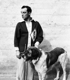 Buster Keaton and a larger dog this time