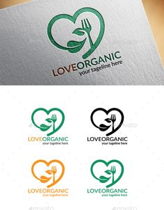 Love Organic Food Logo - Food Logo Templates Download here : https://graphicriver.net/item/love-organic-food-logo/18622995?s_rank=134&ref=Al-fatih