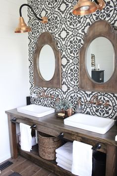 Master Bathroom Renovation- How to achieve a farmhouse style bathroom- copper accents- rustic bohemian bathroom update bathroom decor rustic Modern Farmhouse Bathroom Remodel Reveal Bad Inspiration, Bathroom Inspiration, Furniture Inspiration, Ideas Baños, Decor Ideas, Decorating Ideas, Bohemian Bathroom, Bad Styling, Sweet Home