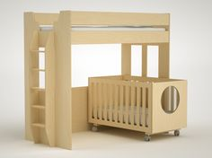 Lofts and cribs, oh my! The Dumbo Bunk Bed Over Crib. Much too modern and stark for me but I like the idea