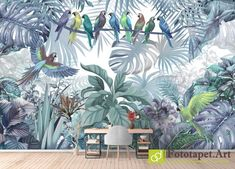 Photo wallpaper Wall Murals, Animals - - All wallpapers shown on the site are printed on a firm order, according to the customer's size, the chosen image and the desired texture. Photo Wallpaper, Wall Wallpaper, Wallpaper Please, Any Images, Fresco, Wall Murals, Tapestry, Parrots, Pictures