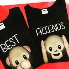 tricouri-best-friends-negre-maimute-emoji Emoji, Bff, Onesies, Best Friends, Kids, T Shirt, Clothes, Women, Fashion