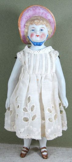 """Fabulous 8 1/2"""" Bonnet Head All Bisque Doll Probably by Conta and from aquietplace on Ruby Lane"""
