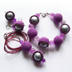 Wrzos w srebrnej rosie - komplet biżuterii w SolmilarArt na DaWanda.com Beaded Bracelets, Boho, Crochet, Etsy, Jewelry, Fashion, Moda, Jewlery, Jewerly