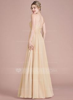 A-Line Princess Scoop Neck Floor-Length Chiffon Prom Dress With Beading  Sequins fc9d7cb3a52a