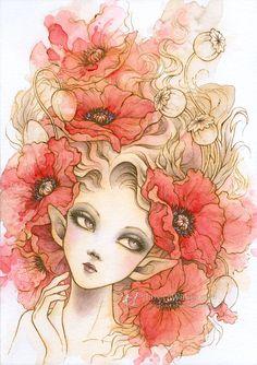 Original Art  Red Poppies  Red Poppy Elf   Free US by AuroraWings, $149.95