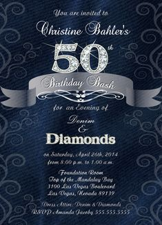 Denim and Diamonds Birthday Anniversary or by BrooklynDesignStudio, $15.00