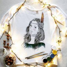 Koszulka ręcznie malowana z dziewczyną, Doda, Dorota Rabczewska, hand painted t-shirt girl