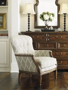 """""""Coventry Hills"""" Brentwood Chair   Lexington Home Brands Furniture #traditional #nailhead trim #tufted"""
