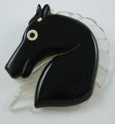 Vintage Black Bakelite & Carved Lucite Horse  Brooch