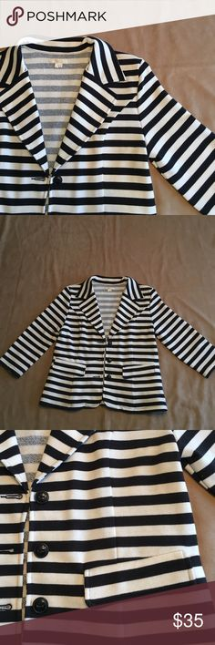 Tulle black & white striped blazer. Tulle French terry black & white striped blazer. Great button & pocket details. Excellent condition. Never worn. Nonsmoking home. Tulle Jackets & Coats Blazers