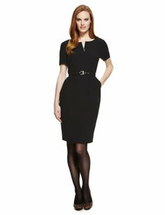 M&S Collection Zipped Shift Dress with Belt-Marks & Spencer