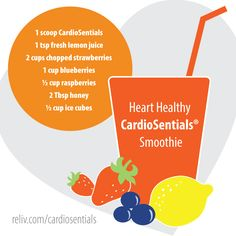 Looking for a heart-healthy smoothie recipe? Try this one with CardioSentials! https://reliv.com/p/cardiosentials