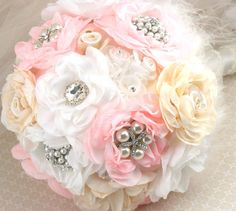 Brooch Bouquet LARGE Bridal Jeweled Bouquet in Blush by SolBijou, $450.00