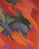 The Red Maple Lake George 1919 - Georgia Totto O'Keeffe (11/15/1887 – 3/6/1986) American artist. Born near Sun Prairie, Wisconsin, she first came to the attention of the N. Y. art community in 1916, with large-format paintings of enlarged blossoms, presenting them close up as if seen through a magnifying lens & N.Y. buildings, most of which date from the same decade. Beginning in 1929, when she first began working part of the year in N. New Mexico—which she made her permanent home in 1949.