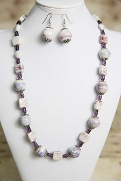 Purple and White Porcelain Beaded Necklace by jewelrystyleandmore, $30.00    #jewelry #bead #beaded #beadedjewelry #handmade #forsale #etsy #jewelrystyleandmore  #necklace  #earrings  #porcelain #porcelainbeads