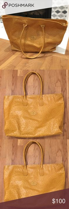Mustard Yellow Ostrich Leather Tote Terrida Italian Leather Tote- Ostrich Leather- beautiful mustard Yellow. Used once. Terrida Bags Totes