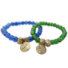 Goldtone Recylced Glass Mala Bracelet (Indonesia)
