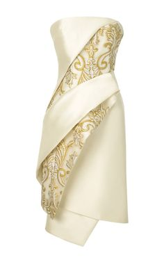 DESIGNER: Bibhu Mohapatra SEE DETAILS HERE:Bibhu Mohapatra Strapless Organza Brocade Draped Cocktail Dress In Ivory